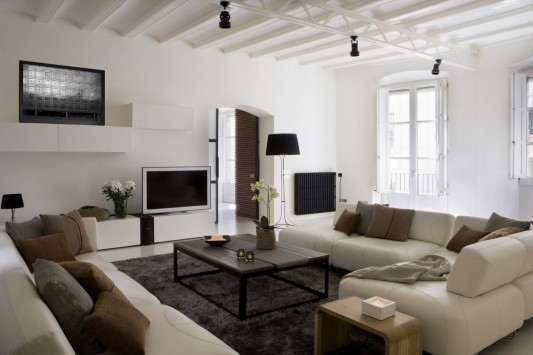 Contemporary Apartment in Barcelona Gothic Quarter living room decorating ideas