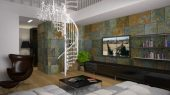 Mediterranean Apartment Interior Inspired in Modern Style living area