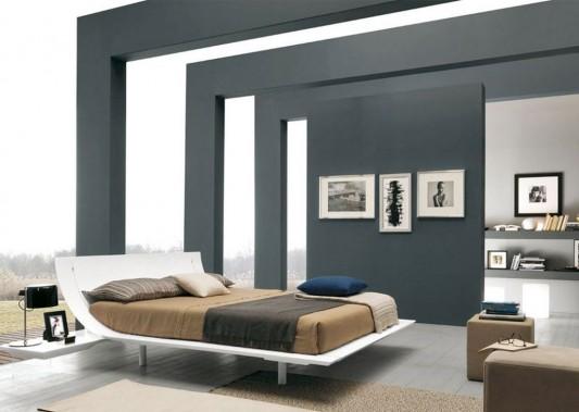 Aqua white Modern minimalist wooden bed Italian Quality