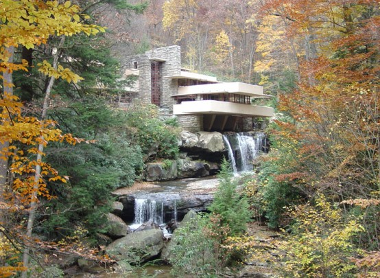 Fallingwater House Design With Natural Stone