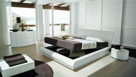 Modern stylish double bed with storage