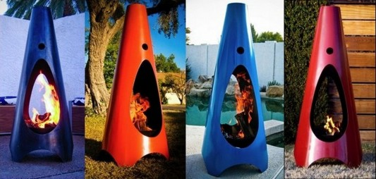 Modfre modern colored outdoor fireplaces design