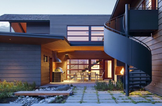 Peaks View Residence spiral exterior stairs design