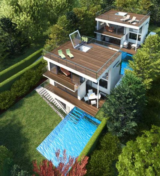 Copper Terrace Apartments: The Concept Of Three-Storey House With Swimming Pool And