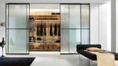 Walk in wardrobe with rack system oak shelves design
