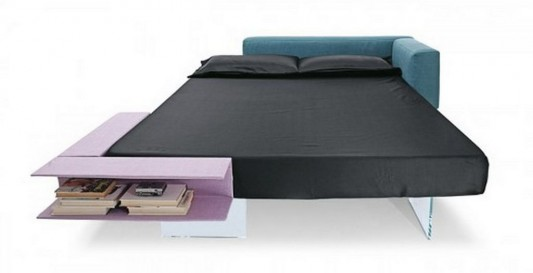 beautiful minimalist bed built-in book storage and adjustable headrest