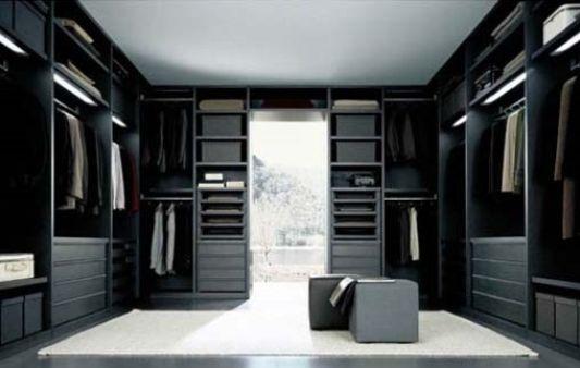 black and white walk in closet modern design