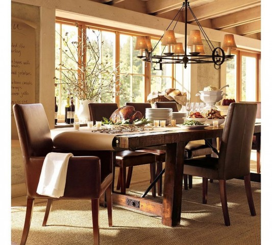 Elegant Tableware For Dining Rooms With Style: Luxurious Wooden Furniture Dining Set With Traditional