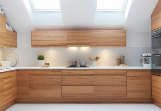 Modern minimalist kitchen design loft with wooden cabinet home design inspiration for Kitchen design wood cabinets