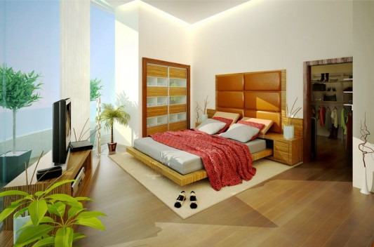 minimalist master bedroom decoration green concept
