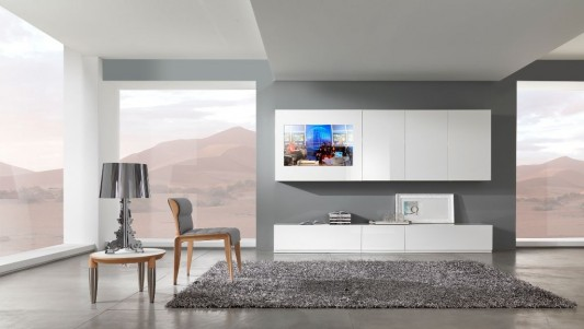 modern and stylish living room concept with wall mounted LCD TV Cabinet