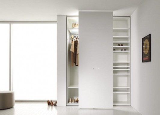 Modern wardrobes combination with cabinet and bookshelves for openness interior d cor 40s by - Custom cabinet doors toronto ...
