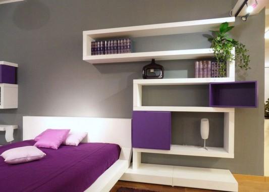 modern white and violet bedroom furniture design