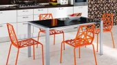 orange fresh color modern futuristic kitchen chair design by Dom Italia