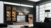 romantic and dramatic interior decorating with modern walnut cabinet