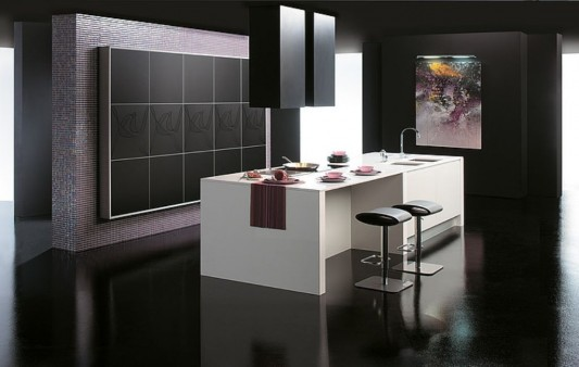 sleek contemporary kitchen design ideas, with Matte black color