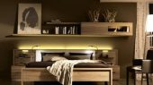 solid wood bedroom furniture with wall mounted shelving system