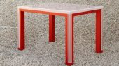 versatile stackable table in red and white