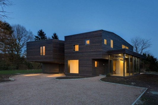 Contemporary Garden Residence exterior night view