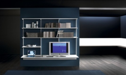 Modular wall mounted bookcase with lcd tv cabinet design for Lcd unit design for living room