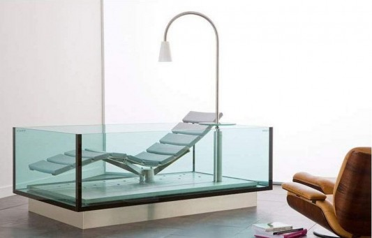 Unique Combination Lounge Chair And Bathtubs Water Lounge