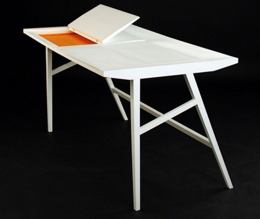 cool and minimalist office desk with laptop storage