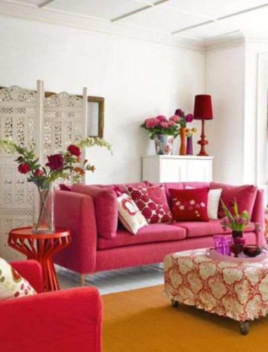 fresh living room decoration with pink color