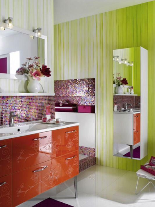 girls bathroom bright orange color for glamorous concept