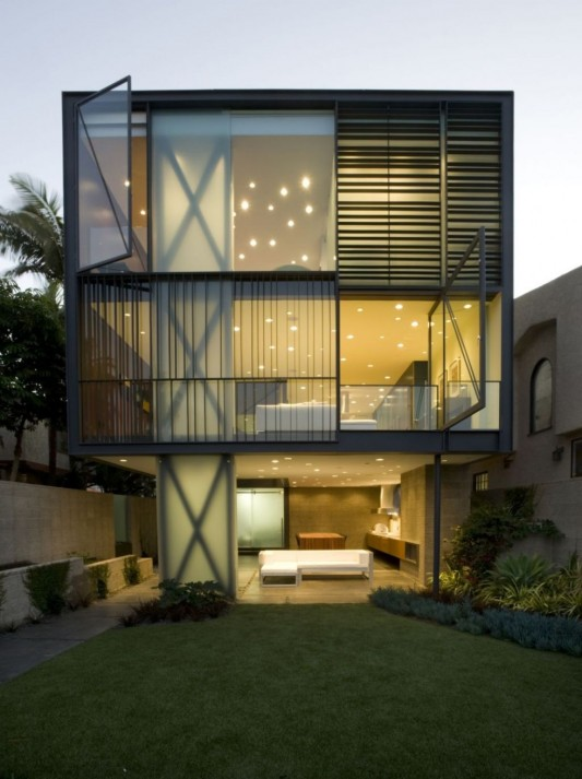 hover house minimalist house with creative interior lighting