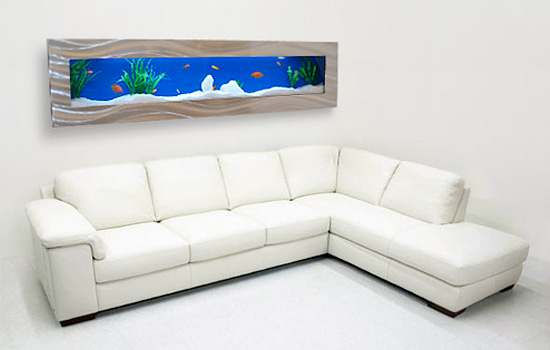 living room decoration with wall aquarium