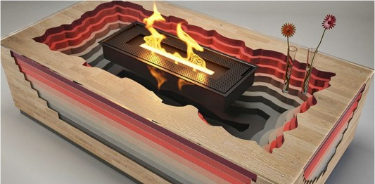 modern coffee table with decorative fireplaces ideas