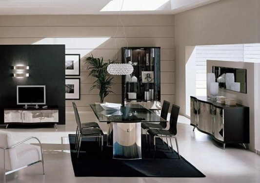 Made In Italy Leather Luxury Contemporary Furniture Set: Luxury Italian Dining Set Furniture, Waves Collection