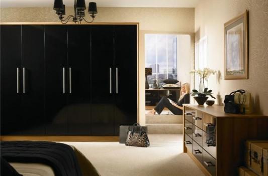 nuvo black high gloss slab wardrobes minimalist design