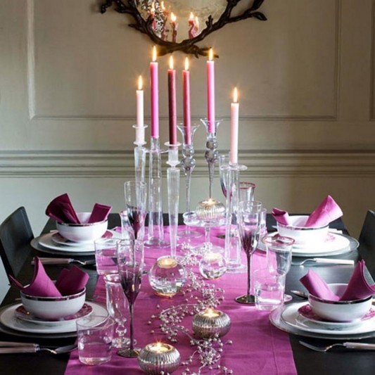pink fresh Christmas dining table decorating design