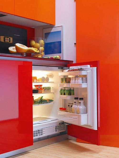 small hidden kitchen refrigerator