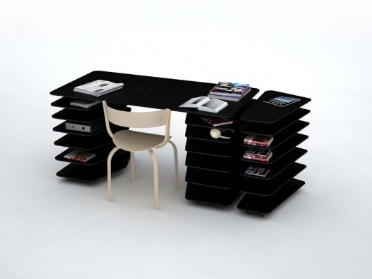 strates system office desk and shelving in one design