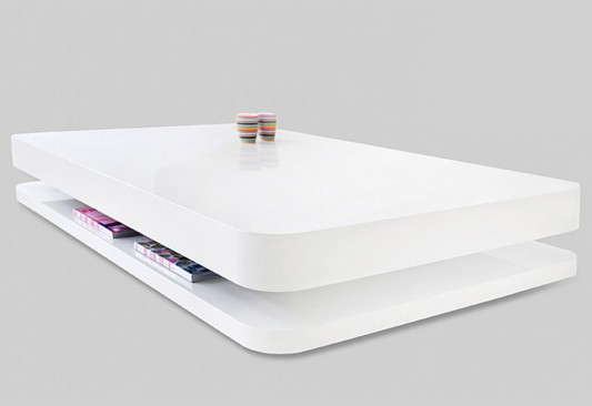 White Lacquered Exclusive Coffee Table with Minimalist ...