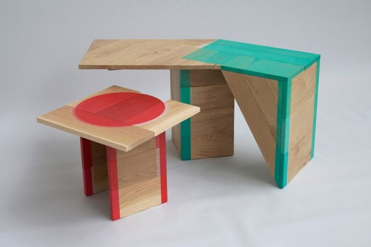 Colour Me Red and Colour Me Green abstrac wooden table