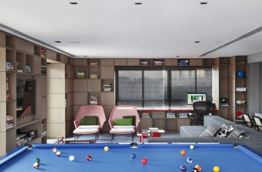 Contemporary Duplex Penthouse Interior redesign pool table and living room