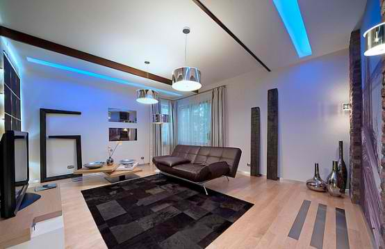 Luxurious Apartment Interior Design with blue lighting room
