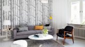 Modern Swedish family house interior ideas living space with beauty wallpaper