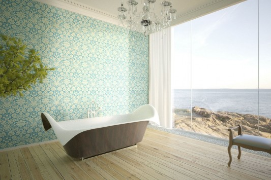 Ocean Wing Organic and Dramatic Corian Bathtubs by Bagno Sasso