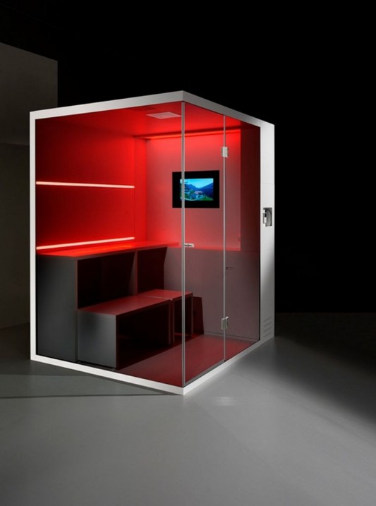 Red LED lighting Compact shower box design