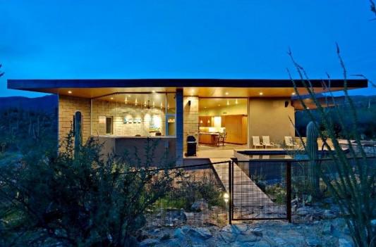 beautiful small minimalist house night view
