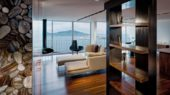 luxurious ludwig penthouse interior apartment with black walnut finish