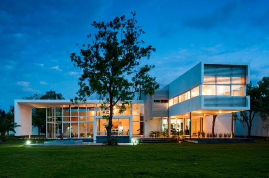 neo modern house design with large transparent windows
