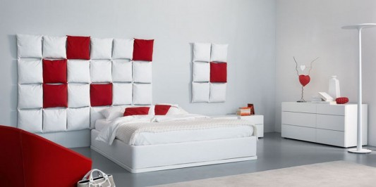 red and white simple stylish bedroom design with pixel pillowed headboard