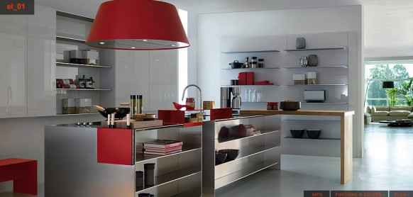 red silver kitchen concept