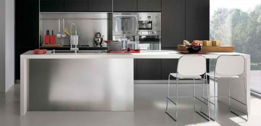 sample of modular design for placement on stainless steel kitchen