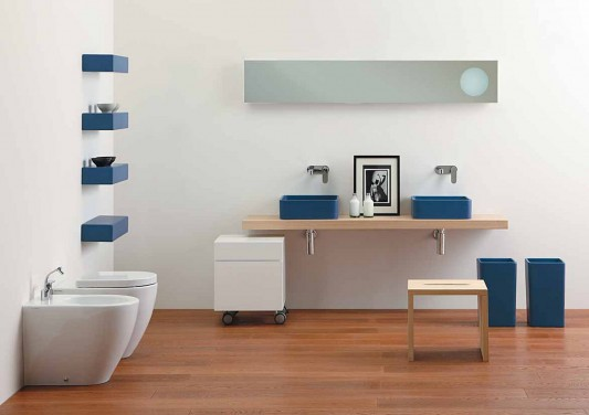small minimalist washbasin for modern small bathroom by Ceramica Flaminia